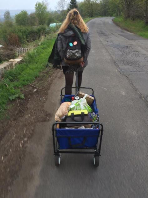 me pulling me trolley along after allotment