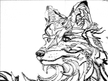 Artic Wolf drawing photoshopped black and white