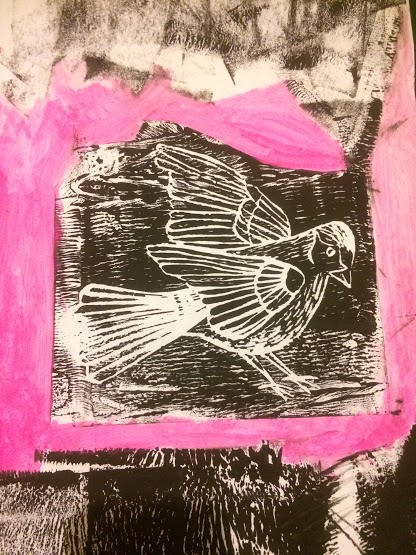 lino bird pink and black 1