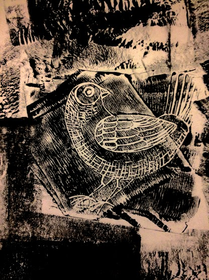lino print bird black 1