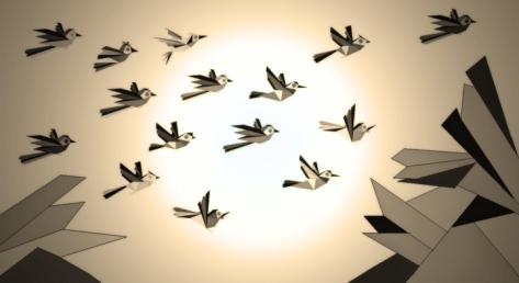 Birds in flight from paint